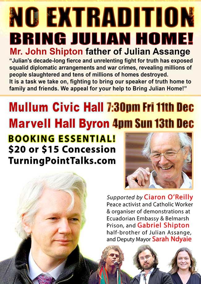 Julian Assange event flyer
